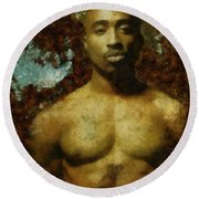 Tupac Shakur - Tribute Round Beach Towel