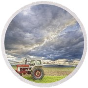 Turbo Tractor Country Evening Skies Round Beach Towel by James BO  Insogna