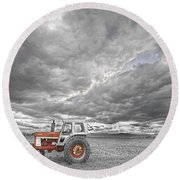 Turbo Tractor Superman Country Evening Skies Round Beach Towel