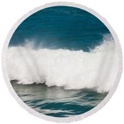 Turbulent Water Of Breaking Ocean Wave And Spray Round Beach Towel