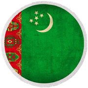 Turkmenistan Flag Vintage Distressed Finish Round Beach Towel