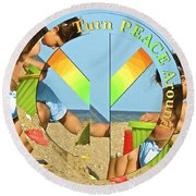 Turn Peace Around 2 Round Beach Towel by Charlie and Norma Brock