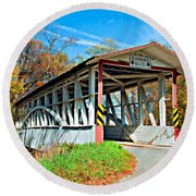 Turner's Covered Bridge Round Beach Towel