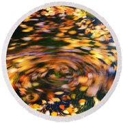 Turning Leaves Round Beach Towel