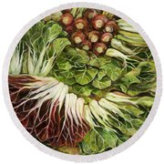 Turnip And Chard Concerto Round Beach Towel by Jen Norton