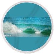 Turquois Waves  Round Beach Towel