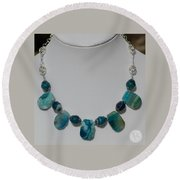 Turquoise And Sapphire Agate Necklace 3674 Round Beach Towel