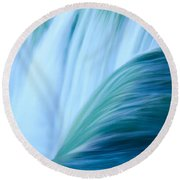 Turquoise Blue Waterfall Round Beach Towel