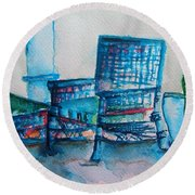 Turquoise Check In Round Beach Towel