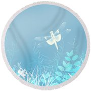 Turquoise Dragonfly Art Round Beach Towel