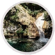 Turquoise Forest Pond On A Summer Day No2 Round Beach Towel