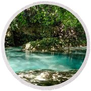 Turquoise Forest Pond On A Summer Day No3 Round Beach Towel