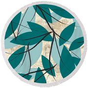 Turquoise Leaves Round Beach Towel
