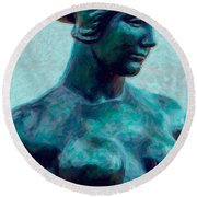 Turquoise Maiden - Digital Art Round Beach Towel