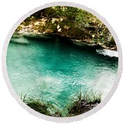 Turquoise River Waterfall And Pond Round Beach Towel