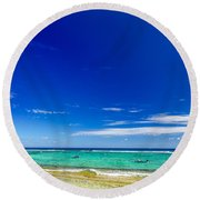 Turquoise Sea And Blue Sky Round Beach Towel