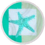 Turquoise Seashells Ix Round Beach Towel by Lourry Legarde