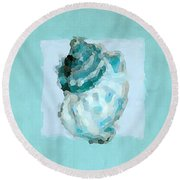 Turquoise Seashells Vi Round Beach Towel by Lourry Legarde