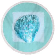Turquoise Seashells Vii Round Beach Towel