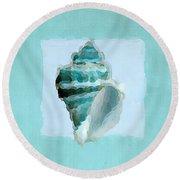 Turquoise Seashells Viii Round Beach Towel by Lourry Legarde