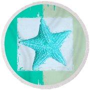 Turquoise Seashells Xi Round Beach Towel by Lourry Legarde