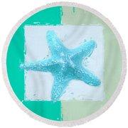 Turquoise Seashells Xiii Round Beach Towel by Lourry Legarde
