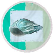 Turquoise Seashells Xiv Round Beach Towel by Lourry Legarde