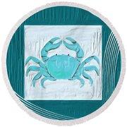 Turquoise Seashells Xix Round Beach Towel
