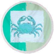 Turquoise Seashells Xv Round Beach Towel