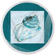 Turquoise Seashells Xxiv Round Beach Towel