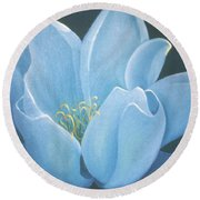 Turquoise Waterlily Round Beach Towel