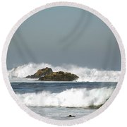 Turquoise Waves Monterey Bay Coastline Round Beach Towel