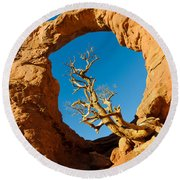 Turret Arch, Arches National Park Round Beach Towel
