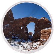 Turret Arch With Snow Arches National Park Utah Round Beach Towel