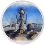 Turrets 1 And 2 Uss Iowa Battleship Photo Art 01 Round Beach Towel