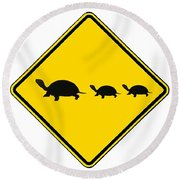 Turtle Crossing Sign Round Beach Towel