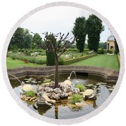 Turtle Fountian And Garden Chateau De Cormatin Round Beach Towel