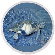 Turtle On Black Sand Beach Round Beach Towel