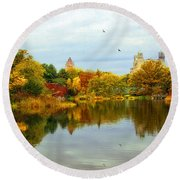 Turtle Pond 2 - Central Park - Nyc Round Beach Towel
