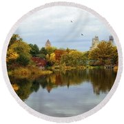 Turtle Pond - Central Park - Nyc Round Beach Towel