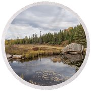 Turtle Rock Cloudy Day Round Beach Towel