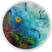 Turtle Wall 1 Round Beach Towel