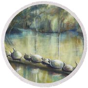 Turtles On A Log Round Beach Towel