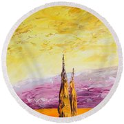 Tuscan Blast Crop Round Beach Towel
