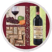 Tuscan Collage 2 Round Beach Towel