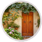 Tuscan Door Round Beach Towel
