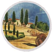 Tuscan Dream 2 Round Beach Towel