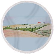 Tuscan Hillside One Round Beach Towel