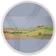 Tuscan Hillside Three Round Beach Towel