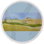 Tuscan Hillside Two Round Beach Towel